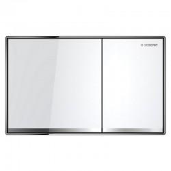 Geberit Sigma 60 betjeningsplade - 2-skyls - Hvidt glas/børstet stål