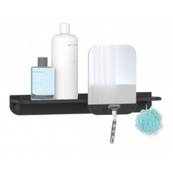 Hefe GLIDE hylde til badet med spejl - sort aluminium