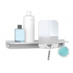Hefe GLIDE hylde til badet med spejl - lysegrå aluminium