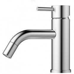 Nivito Rhythm håndvaskarmatur - Børstet stål - buet tud