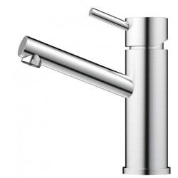 Nivito Flow håndvaskarmatur - Børstet stål - kort model