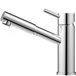 Nivito Flow håndvaskarmatur - Blankt stål - lang model