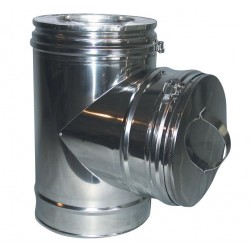 Metalbestos Multi50 130 mm t-stykke 90° med prop