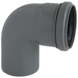 Nicoll HTP bøjning 88gr. 75 mm m/1 muffe, grå.