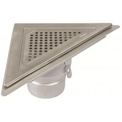 Blücher JUST gulvafløb med vandret Ø110 mm udløb, trekantet samt smøremembran. Til beton & fliser.