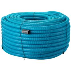 Wavin drænrør 126/113mm, 100m/rll. 2,5x5mm slids, blå