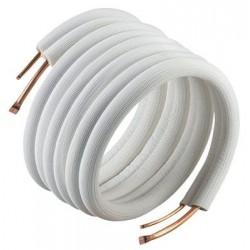 isoleret kølerør uden flange og omløber 3/8 inch x 5/8 inch . Passer til de fleste varmepumper op til 24000 BTU. Lgd. A 20 mtr.