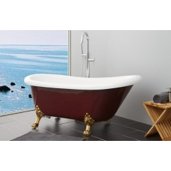 TopDesign fritstående badekar med løvefod 170 X 80 cm - Rød