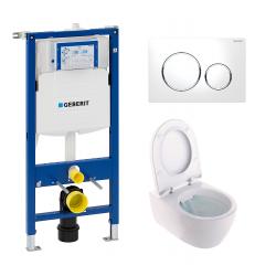 Toiletpakke m/Geberit cisterne, Ifø spira toilet m/sæde, og krom trykplade