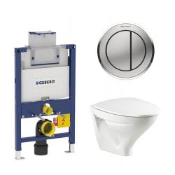 Toiletpakke m/Geberit cisterne, Ifø Sig toilet m/sæde, og blankkrom/matkrom trykplade
