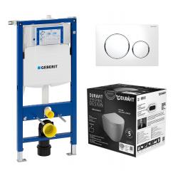 Toiletpakke m/Geberit cisterne, Me by Stack toilet m/sæde og hvid/krom/hvid trykknap