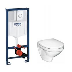 Toiletpakke m/Grohe cisterne,Gustavsberg Nautic toilet m/sæde og krom trykknap