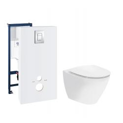 Toiletpakke m/Grohe cisterne, Ifø Spira Art toilet m/sæde og krom trykknap