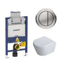 Toiletpakke m/Geberit cisterne, Alterna Dayly'O Compact toilet m/sæde, og blankkrom/matkrom trykplade