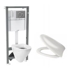 Toiletpakke m/Ifø cisterne, Ifø Cera toilet m/sæde og krom trykknap