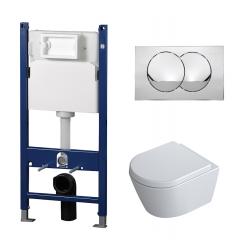 Toiletpakke m/Alterna cisterne, Alterna Dayly'O Compact toilet m/sæde, og krom trykplade