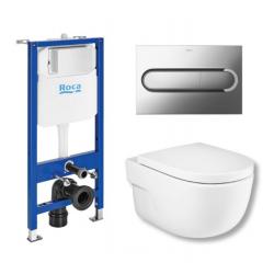 Toiletpakke m/Roca cisterne, Roca Merdian toilet m/sæde, og krom trykplade