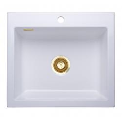 Lavabo Mera 57 - 57,5 x 51 x 20 cm - Hvid keramik / guld