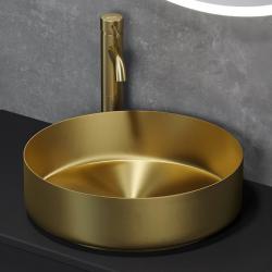 Håndvask i børstet messing - Ø40 cm