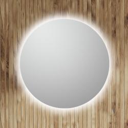 Rundt spejl med led lys