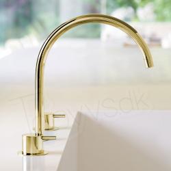 Vola KV15 - 19 messing natur køkken eller håndvaskarmatur til bordmontering