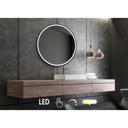 Rundt LED-spejl med sort...