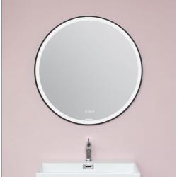 Cassøe - rundt spejl med sort ramme og touch