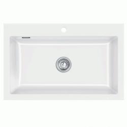 Lavabo Mera - køkkenvask i hvid kemamik til nedfældning - 80 x 51 cm